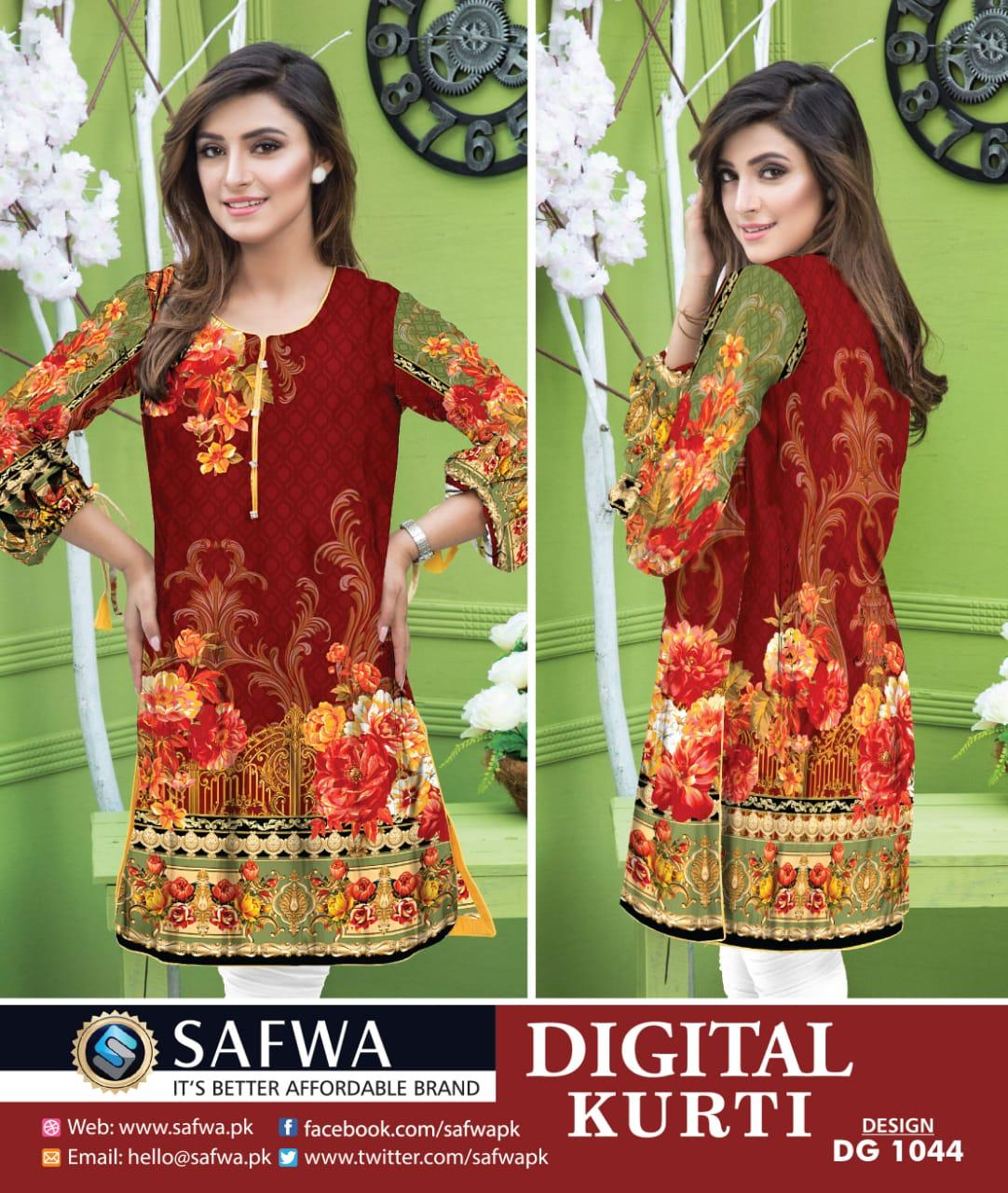 SAFWA DRESS DESIGN, DRESSES, PAKISTANI DRESSES, DG1044- SAFWA DIGITAL COTTON PRINT KURTI COLLECTION -SHIRT KURTI KAMEEZ-Shirt-Kurti-SAFWA -SAFWA Brand Pakistan online shopping for Designer Dresses