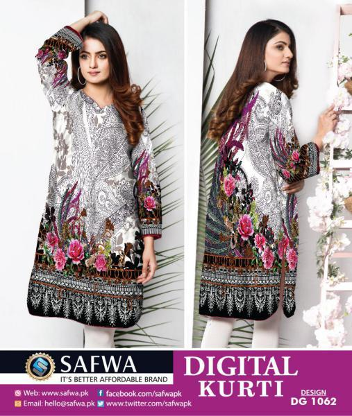 DG-1062 (X-Large) - SAFWA DIGITAL COTTON PRINT STITCH KURTI COLLECTION -SHIRT KURTI KAMEEZ