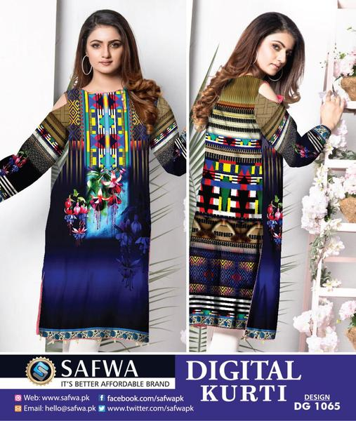 DG-1065 (Large) - SAFWA DIGITAL COTTON PRINT STITCH KURTI COLLECTION -SHIRT KURTI KAMEEZ