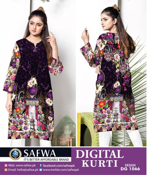 DG1066s- SAFWA DIGITAL COTTON PRINT KURTI COLLECTION -SHIRT KURTI KAMEEZ - Shirt-Kurti - Safwa Pakistan Fashion