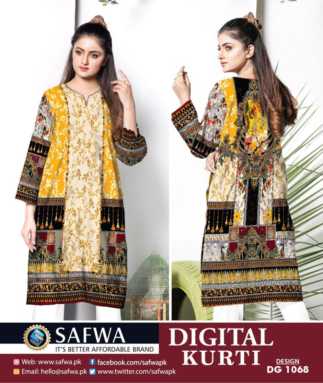 DG1068- SAFWA DIGITAL COTTON PRINT KURTI COLLECTION -SHIRT KURTI KAMEEZ - Shirt-Kurti - Safwa Pakistan Fashion