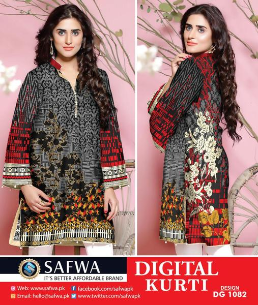 DG-1082 (X-Large) - SAFWA DIGITAL COTTON PRINT STITCH KURTI COLLECTION -SHIRT KURTI KAMEEZ
