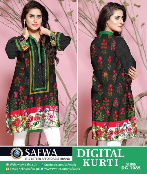 DG1085s- SAFWA DIGITAL COTTON PRINT STITCH KURTI COLLECTION -SHIRT KURTI KAMEEZ - Shirt-Kurti - Safwa Pakistan Fashion