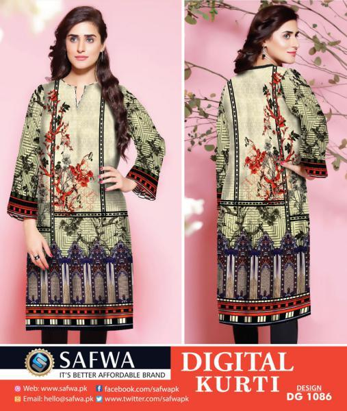 DG-1086 (X-Large) - SAFWA DIGITAL COTTON PRINT STITCH KURTI COLLECTION -SHIRT KURTI KAMEEZ
