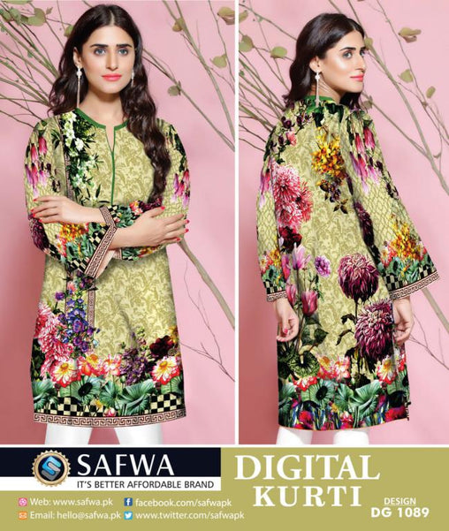 SAFWA DRESS DESIGN, DRESSES, PAKISTANI DRESSES, DG1089- SAFWA DIGITAL COTTON PRINT KURTI COLLECTION -SHIRT KURTI KAMEEZ-Shirt-Kurti-SAFWA -SAFWA Brand Pakistan online shopping for Designer Dresses