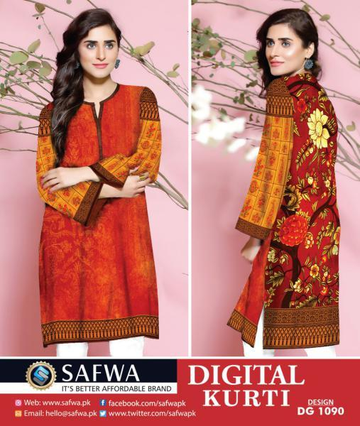DG1090- SAFWA DIGITAL COTTON PRINT KURTI COLLECTION -SHIRT KURTI KAMEEZ-Shirt-Kurti-SAFWA -SAFWA Brand Pakistan online shopping for Designer Dresses SAFWA DRESS DESIGN, DRESSES, PAKISTANI DRESSES,