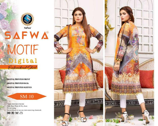 DSM 10 DIGITAL EMBROIDERY SHIRT KURTI KAMEEZ - COTTON - SAFWA MOTIF COLLECTION -  Shirt-Kurti, SAFWA, SAFWA Brand - Pakistani Dresses | Kurtis | Shalwar Kameez | Online Shopping | Lawn Dress