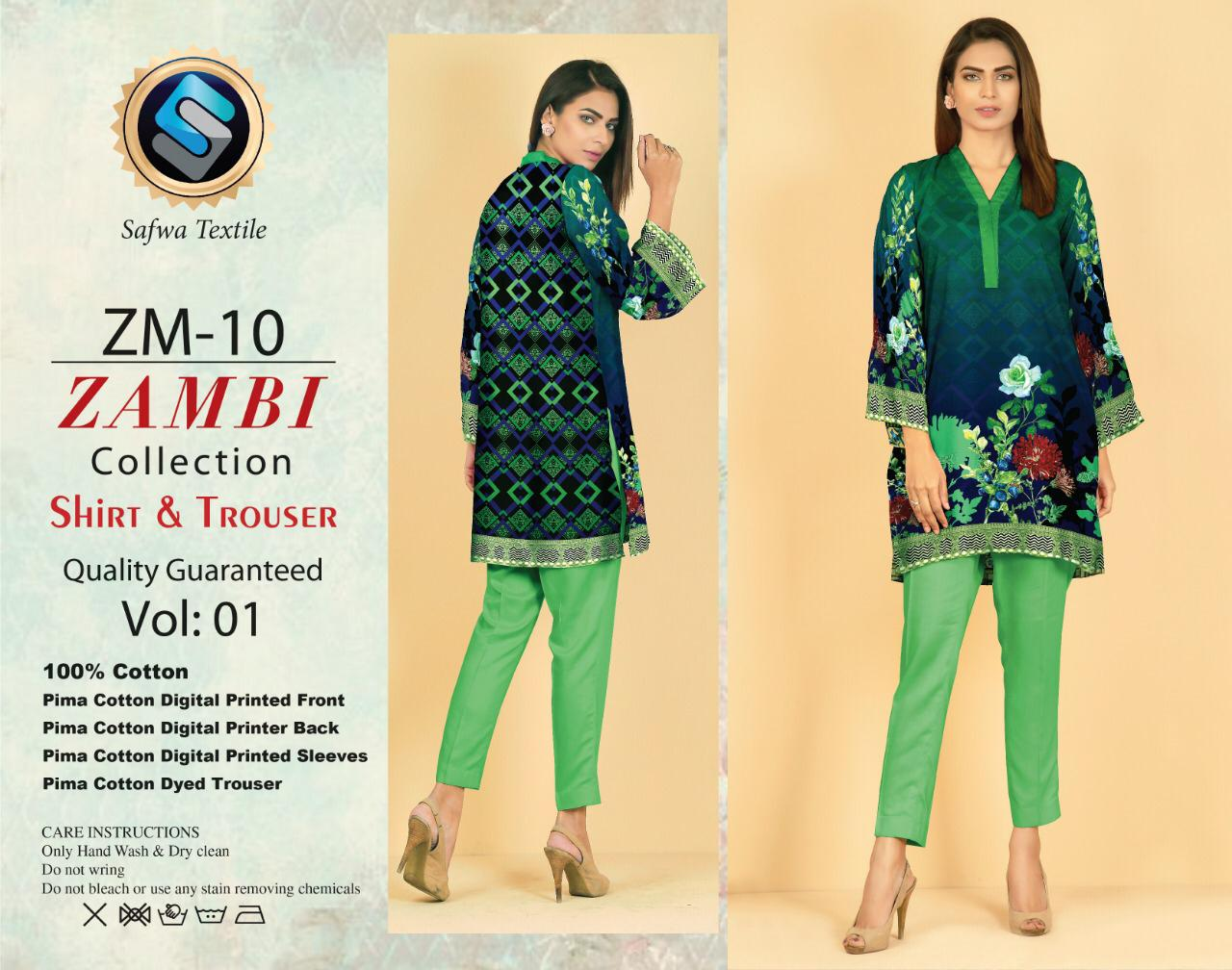 ZM-10-SAFWA COTTON-ZAMBI COLLECTION- PRINTED -2 PIECE DRESS - Two Piece Suit - safwa