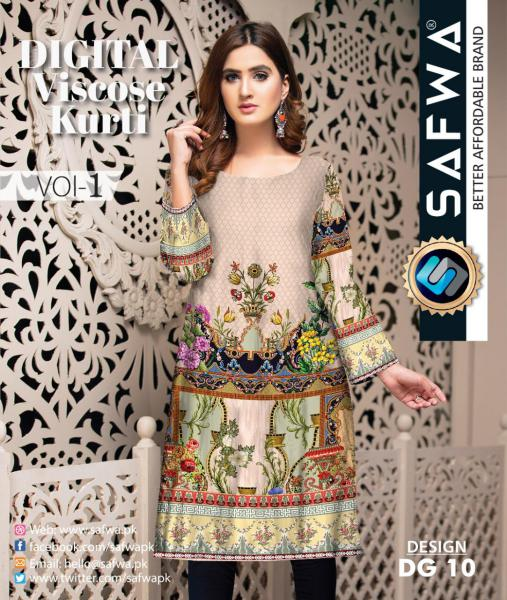 DG-10 - SAFWA - DIGITAL SHIRT - KURTI - VISCOSE KAMEEZ -SAFWA DRESS DESIGN, DRESSES, PAKISTANI DRESSES,-Shirt-Kurti-SAFWA Textile -SAFWA Brand Pakistan online shopping for Designer Dresses
