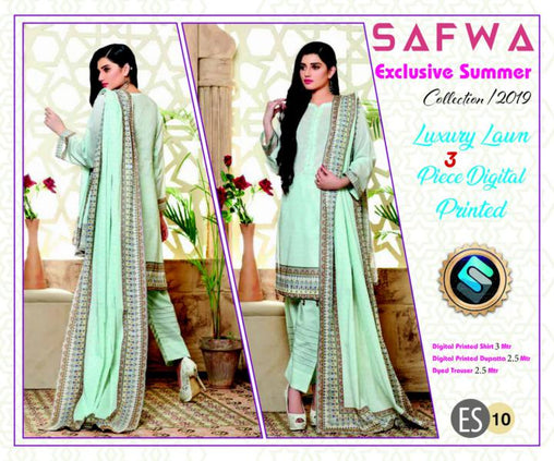 ES 10 - Exclusive  Collection Vol 1 - 3 PIECE SUIT 2019-Three Piece Suit-SAFWA -SAFWA Brand Pakistan online shopping for Designer Dresses-SAFWA DRESS DESIGN, DRESSES, PAKISTANI DRESSES