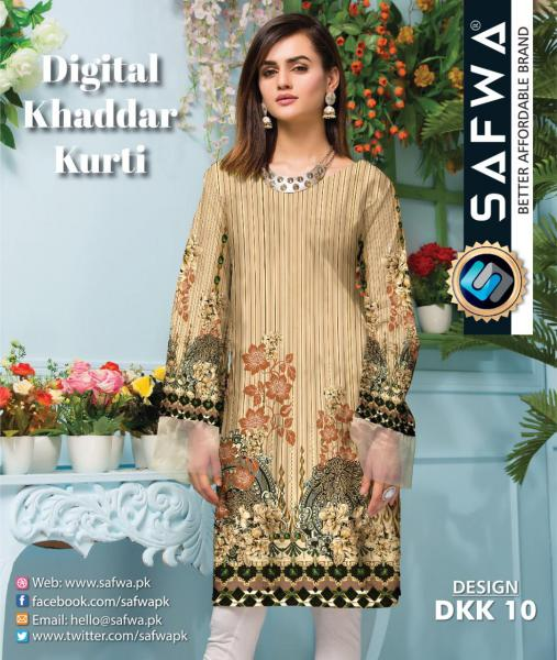 DKK 10- SAFWA DIGITAL KHADDAR -PRINT KURTI COLLECTION - SHIRT - KURTI - KAMEEZ-Shirt-Kurti-SAFWA -SAFWA Brand Pakistan online shopping for Designer Dresses |SAFWA |DRESS DESIGN| DRESSES| PAKISTANI DRESSES