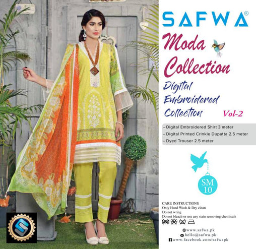 MC-20 - MODA COLLECTION VOL 2- 3PIECE SUIT-Lawn 2019 - Three Piece Suit - safwa