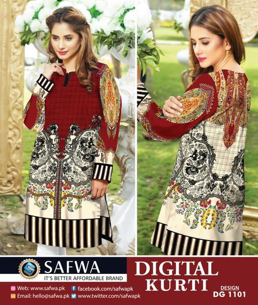 DG1101- SAFWA DIGITAL COTTON PRINT KURTI COLLECTION -SHIRT KURTI KAMEEZ-Shirt-Kurti-SAFWA -SAFWA Brand Pakistan online shopping for Designer Dresses SAFWA DRESS DESIGN, DRESSES, PAKISTANI DRESSES,