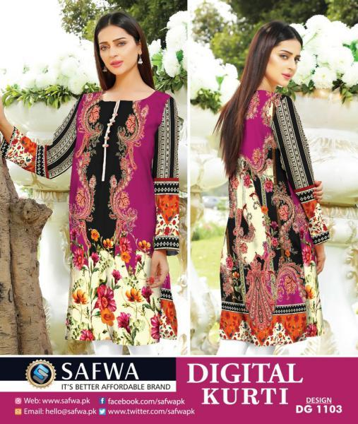 DG1103- SAFWA DIGITAL COTTON PRINT KURTI COLLECTION -SHIRT KURTI KAMEEZ-Shirt-Kurti-SAFWA -SAFWA Brand Pakistan online shopping for Designer Dresses SAFWA DRESS DESIGN, DRESSES, PAKISTANI DRESSES,