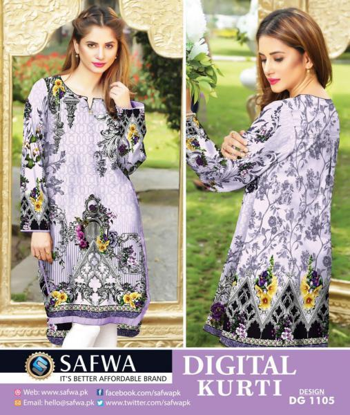 DG1105- SAFWA DIGITAL COTTON PRINT KURTI COLLECTION -SHIRT KURTI KAMEEZ-Shirt-Kurti-SAFWA -SAFWA Brand Pakistan online shopping for Designer Dresses SAFWA DRESS DESIGN, DRESSES, PAKISTANI DRESSES,