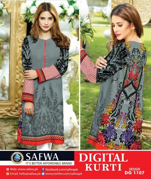 DG1107- SAFWA DIGITAL COTTON PRINT KURTI COLLECTION -SHIRT KURTI KAMEEZ-Shirt-Kurti-SAFWA -SAFWA Brand Pakistan online shopping for Designer Dresses SAFWA DRESS DESIGN, DRESSES, PAKISTANI DRESSES,