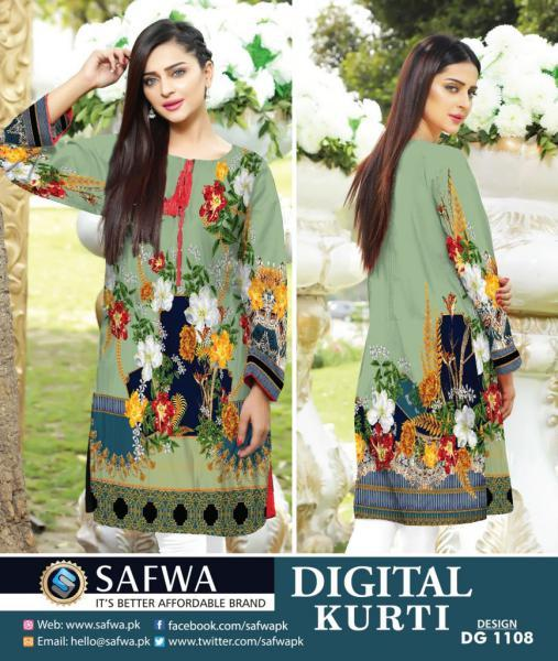 DG1108- SAFWA DIGITAL COTTON PRINT KURTI COLLECTION -SHIRT KURTI KAMEEZ-Shirt-Kurti-SAFWA -SAFWA Brand Pakistan online shopping for Designer Dresses SAFWA DRESS DESIGN, DRESSES, PAKISTANI DRESSES,