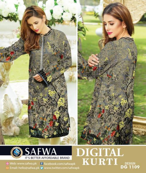 DG1109- SAFWA DIGITAL COTTON PRINT KURTI COLLECTION -SHIRT KURTI KAMEEZ-Shirt-Kurti-SAFWA -SAFWA Brand Pakistan online shopping for Designer Dresses SAFWA DRESS DESIGN, DRESSES, PAKISTANI DRESSES,