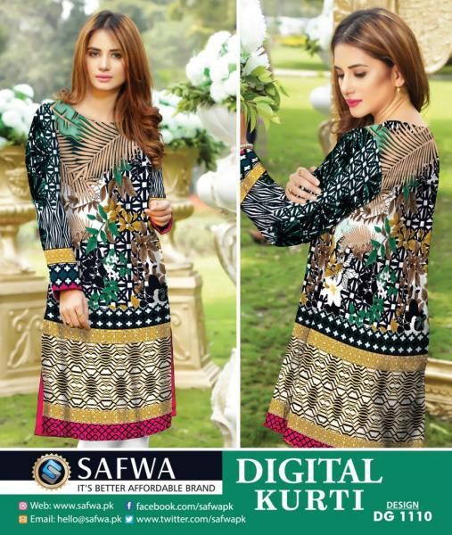 DG1110- SAFWA DIGITAL COTTON PRINT KURTI COLLECTION -SHIRT KURTI KAMEEZ-Shirt-Kurti-SAFWA -SAFWA Brand Pakistan online shopping for Designer Dresses SAFWA DRESS DESIGN, DRESSES, PAKISTANI DRESSES,