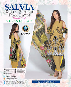 1110-SAFWA LAWN-SALVIA COLLECTION- PRINTED -2 PIECE DRESS