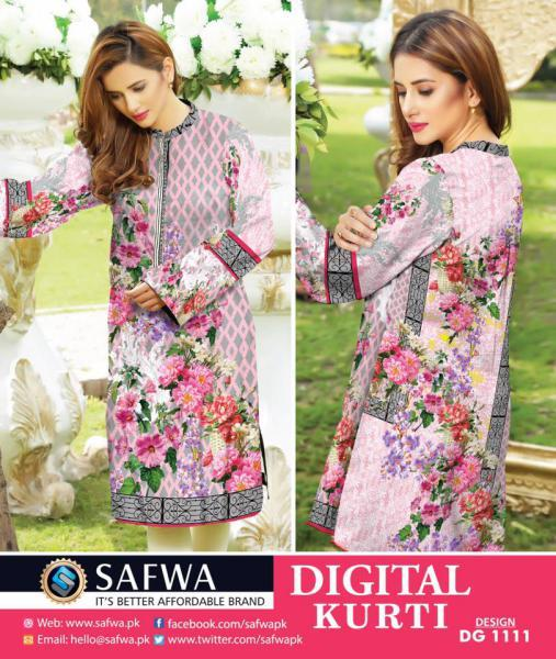 DG1111- SAFWA DIGITAL COTTON PRINT KURTI COLLECTION -SHIRT KURTI KAMEEZ-Shirt-Kurti-SAFWA -SAFWA Brand Pakistan online shopping for Designer Dresses SAFWA DRESS DESIGN, DRESSES, PAKISTANI DRESSES,