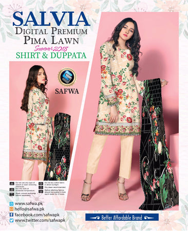 1111-SAFWA LAWN-SALVIA COLLECTION- PRINTED -2 PIECE DRESS