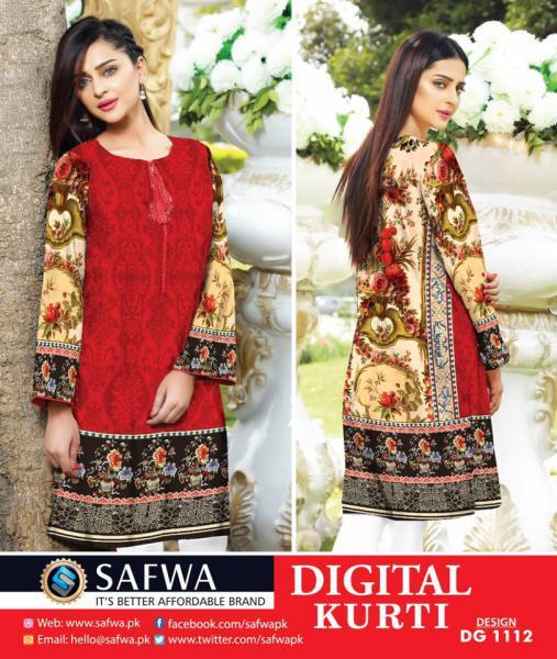 DG1112- SAFWA DIGITAL COTTON PRINT KURTI COLLECTION -SHIRT KURTI KAMEEZ-Shirt-Kurti-SAFWA -SAFWA Brand Pakistan online shopping for Designer Dresses SAFWA DRESS DESIGN, DRESSES, PAKISTANI DRESSES,