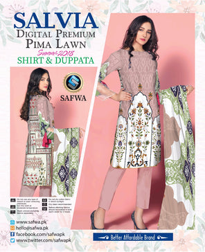 1112-SAFWA LAWN-SALVIA COLLECTION- PRINTED -2 PIECE DRESS