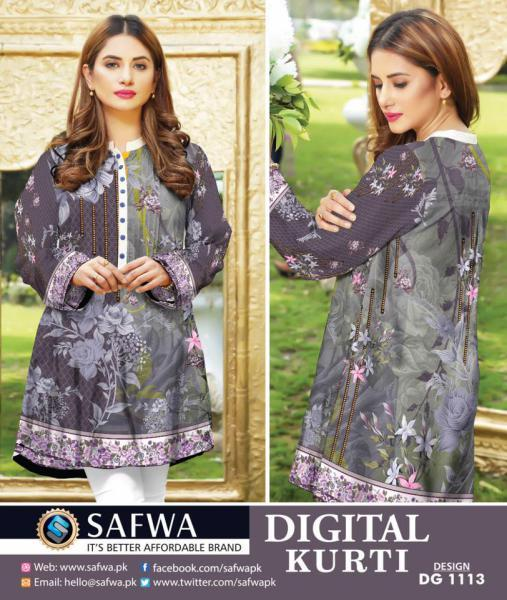 DG1113- SAFWA DIGITAL COTTON PRINT KURTI COLLECTION -SHIRT KURTI KAMEEZ-Shirt-Kurti-SAFWA -SAFWA Brand Pakistan online shopping for Designer Dresses SAFWA DRESS DESIGN, DRESSES, PAKISTANI DRESSES,