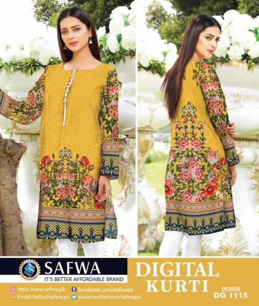 DG1115- SAFWA DIGITAL COTTON PRINT KURTI COLLECTION -SHIRT KURTI KAMEEZ-Shirt-Kurti-SAFWA -SAFWA Brand Pakistan online shopping for Designer Dresses SAFWA DRESS DESIGN, DRESSES, PAKISTANI DRESSES,