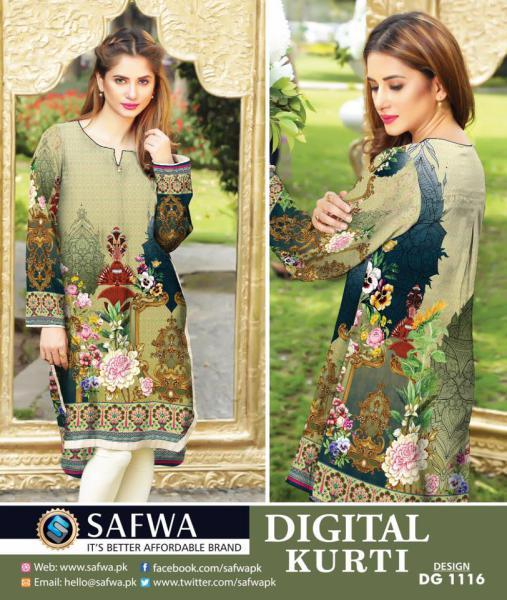 DG1116- SAFWA DIGITAL COTTON PRINT KURTI COLLECTION -SHIRT KURTI KAMEEZ-Shirt-Kurti-SAFWA -SAFWA Brand Pakistan online shopping for Designer Dresses SAFWA DRESS DESIGN, DRESSES, PAKISTANI DRESSES,