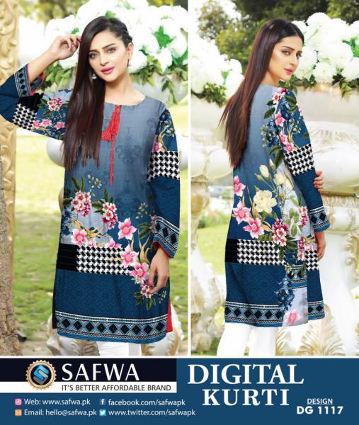 DG1117- SAFWA DIGITAL COTTON PRINT KURTI COLLECTION -SHIRT KURTI KAMEEZ-Shirt-Kurti-SAFWA -SAFWA Brand Pakistan online shopping for Designer Dresses SAFWA DRESS DESIGN, DRESSES, PAKISTANI DRESSES,