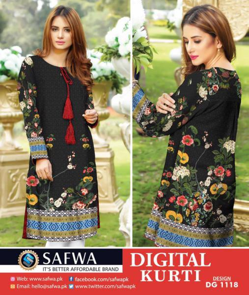 DG1118- SAFWA DIGITAL COTTON PRINT KURTI COLLECTION -SHIRT KURTI KAMEEZ-Shirt-Kurti-SAFWA -SAFWA Brand Pakistan online shopping for Designer Dresses SAFWA DRESS DESIGN, DRESSES, PAKISTANI DRESSES,