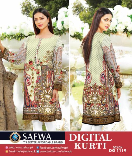 DG1119- SAFWA DIGITAL COTTON PRINT KURTI COLLECTION -SHIRT KURTI KAMEEZ-Shirt-Kurti-SAFWA -SAFWA Brand Pakistan online shopping for Designer Dresses SAFWA DRESS DESIGN, DRESSES, PAKISTANI DRESSES,