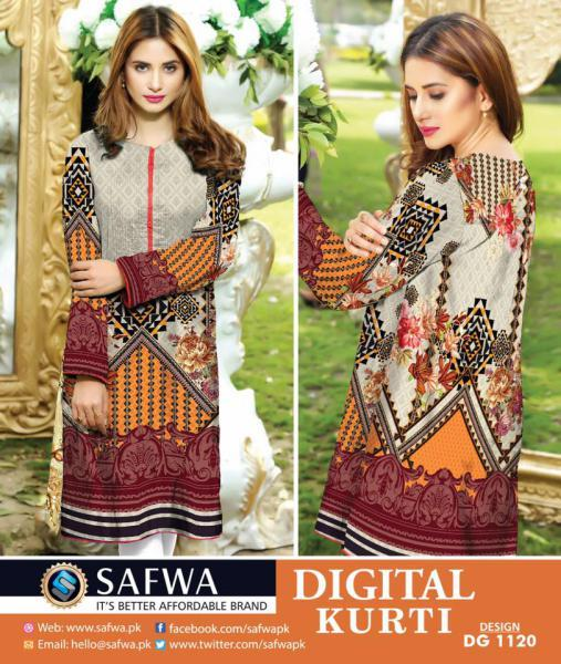 DG1120- SAFWA DIGITAL COTTON PRINT KURTI COLLECTION -SHIRT KURTI KAMEEZ-Shirt-Kurti-SAFWA -SAFWA Brand Pakistan online shopping for Designer Dresses SAFWA DRESS DESIGN, DRESSES, PAKISTANI DRESSES,