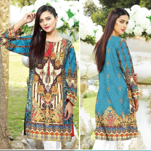 DG1160 (X-Large) - SAFWA DIGITAL COTTON PRINT STITCH KURTI COLLECTION -SHIRT KURTI KAMEEZ