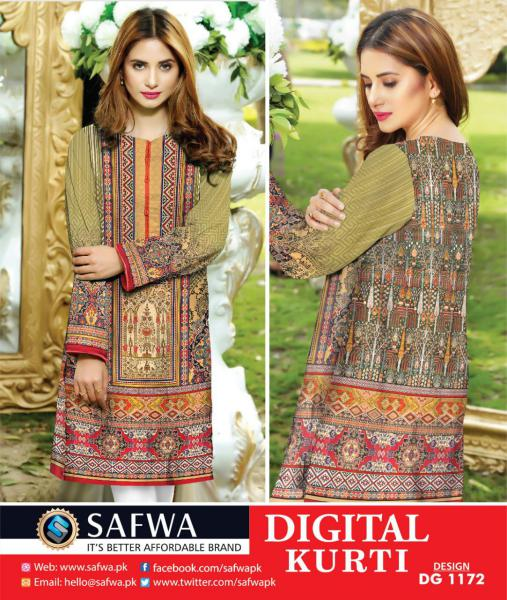 DG1172 (X-Large) - SAFWA DIGITAL COTTON PRINT STITCH KURTI COLLECTION -SHIRT KURTI KAMEEZ