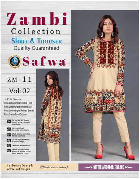 ZM-11-SAFWA COTTON-ZAMBI COLLECTION- PRINTED -2 PIECE DRESS - Two Piece Suit - safwa