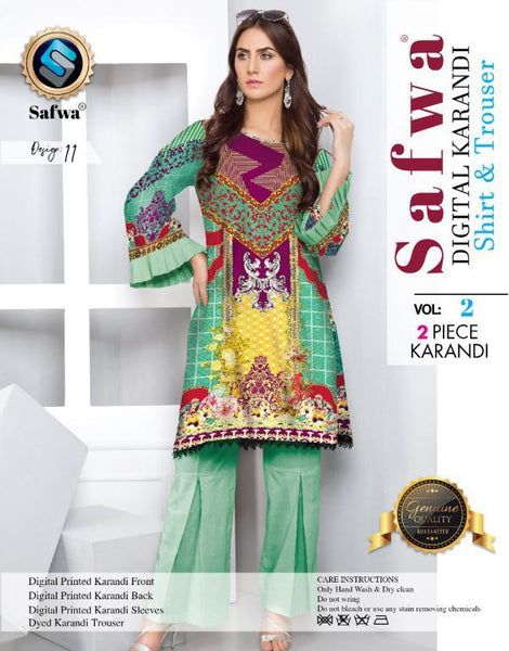 DK 11 - SAFWA DIGITAL KHADDAR 2 PIECE  PRINT COLLECTION -SHIRT and Trouser |SAFWA DRESS DESIGN| DRESSES| PAKISTANI DRESSES| SAFWA -SAFWA Brand Pakistan online shopping for Designer Dresses