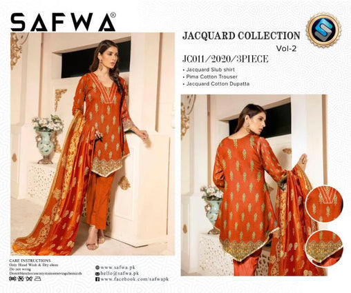 JC-11-SAFWA JACQUARD KARANDI/COTTON COLLECTION-3 PIECE DRESS - Safwa |Dresses| Pakistani Dresses| Fashion|Online Shopping