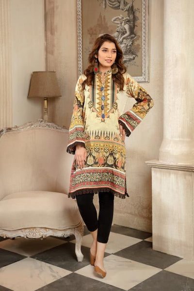 CST-12 - SAFWA DIGITAL COTTON SATIN PRINT KURTI COLLECTION -SHIRT| KURTI | KAMEEZ -SAFWA BRAND PAKISTAN , DRESS DESIGN, DRESSES , PAKISTANI DRESSES