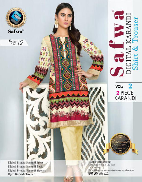 DK 12 - SAFWA DIGITAL KHADDAR 2 PIECE  PRINT COLLECTION -SHIRT and Trouser |SAFWA DRESS DESIGN| DRESSES| PAKISTANI DRESSES| SAFWA -SAFWA Brand Pakistan online shopping for Designer Dresses