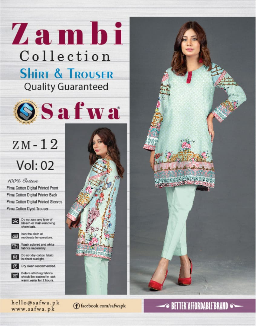 ZM-12-SAFWA COTTON-ZAMBI COLLECTION- PRINTED -2 PIECE DRESS - Two Piece Suit - safwa