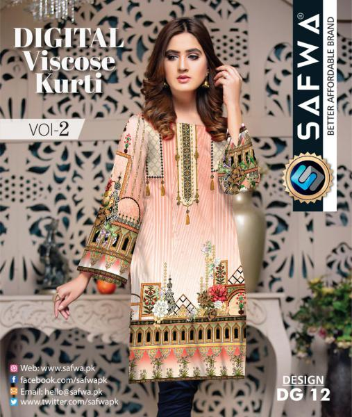 DG-12 - SAFWA - DIGITAL SHIRT - KURTI - VISCOSE KAMEEZ -SAFWA DRESS DESIGN, DRESSES, PAKISTANI DRESSES,-Shirt-Kurti-SAFWA Textile -SAFWA Brand Pakistan online shopping for Designer Dresses