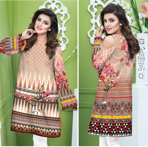 DG-138 (Large) - SAFWA DIGITAL COTTON PRINT STITCH KURTI COLLECTION -SHIRT KURTI KAMEEZ