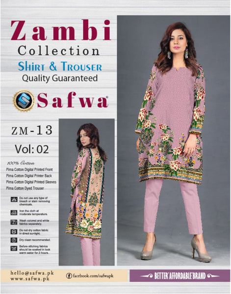 ZM-13-SAFWA COTTON-ZAMBI COLLECTION- PRINTED -2 PIECE DRESS - Two Piece Suit - safwa
