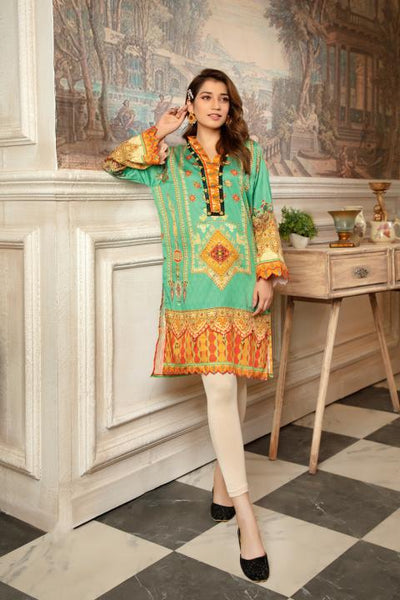 CST-13 - SAFWA DIGITAL COTTON SATIN PRINT KURTI COLLECTION -SHIRT| KURTI | KAMEEZ -SAFWA BRAND PAKISTAN , DRESS DESIGN, DRESSES , PAKISTANI DRESSES