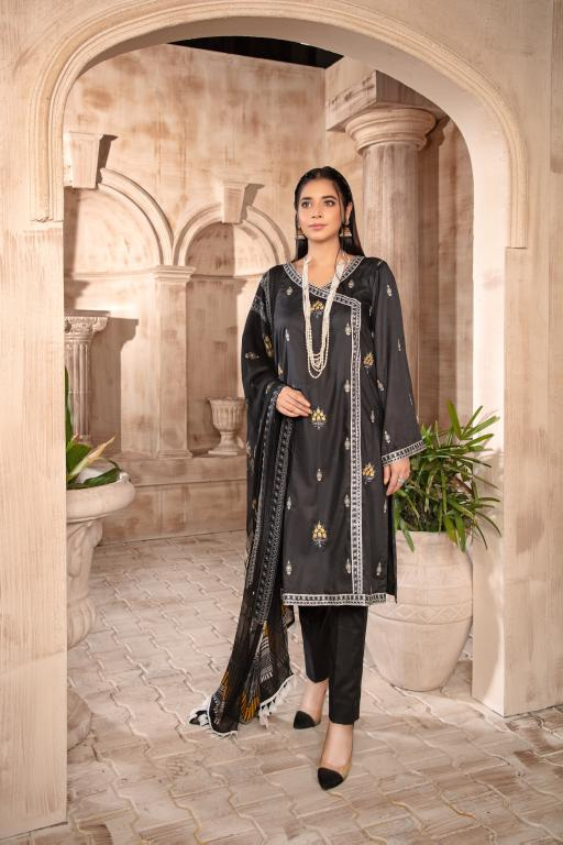 T-13 - SAFWA EMBROIDERED COTTON SATIN 3 PIECE COLLECTION -SHIRT Trouser and Duptta | SAFWA DRESS DESIGN| DRESSES | PAKISTANI DRESSES| SAFWA -SAFWA Brand Pakistan online shopping for Designer