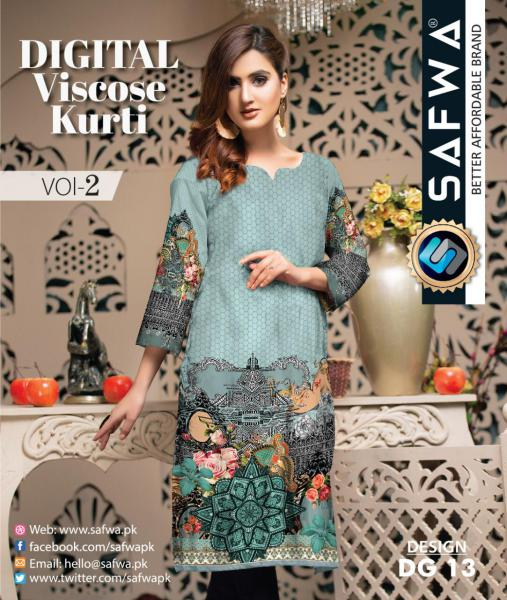 DG-13 - SAFWA - DIGITAL SHIRT - KURTI - VISCOSE KAMEEZ -SAFWA DRESS DESIGN, DRESSES, PAKISTANI DRESSES,-Shirt-Kurti-SAFWA Textile -SAFWA Brand Pakistan online shopping for Designer Dresses