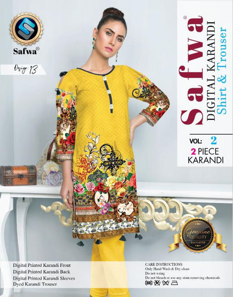 DK 13 - SAFWA DIGITAL KHADDAR 2 PIECE  PRINT COLLECTION -SHIRT and Trouser |SAFWA DRESS DESIGN| DRESSES| PAKISTANI DRESSES| SAFWA -SAFWA Brand Pakistan online shopping for Designer Dresses